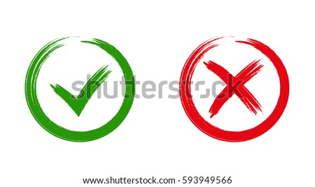 Tick and cross signs. Green checkmark OK and red X icons, isolated on white background. Simple marks graphic design. symbols YES and NO button for vote, decision, web. Vector illustration Royalty-Free Stock Photo #593949566