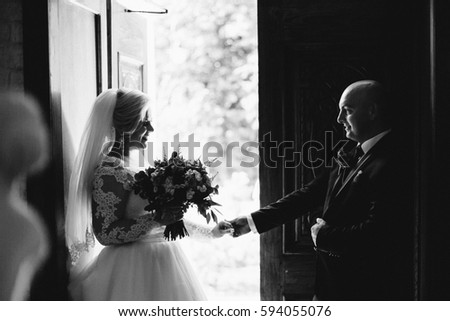 Young beautiful bride and groom near old door . Wedding day. Wedding session #594055076
