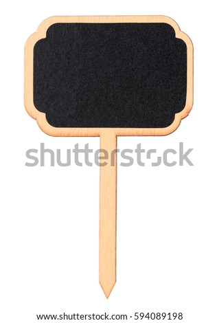 Wooden information label sign with black chalkboard empty place for text isolated on white background