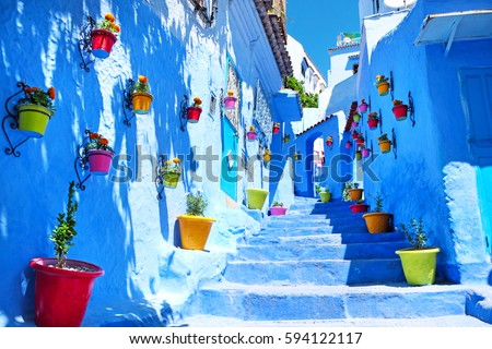 Traditional moroccan architectural details in Chefchaouen, Morocco, Africa Royalty-Free Stock Photo #594122117