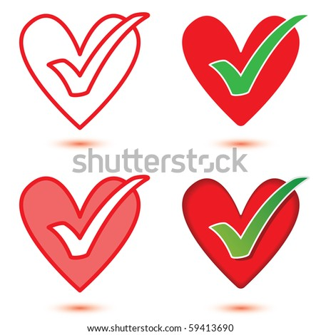 Heart & tick icon set, isolated with optional shadows.
