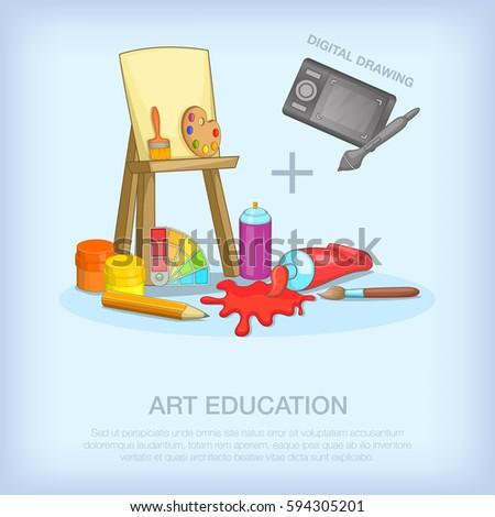 Art education tools concept set. Cartoon illustration of art education tools  concept for web