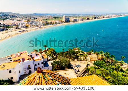 Aerial Panoramic View Of Peniscola City In Spain #594335108