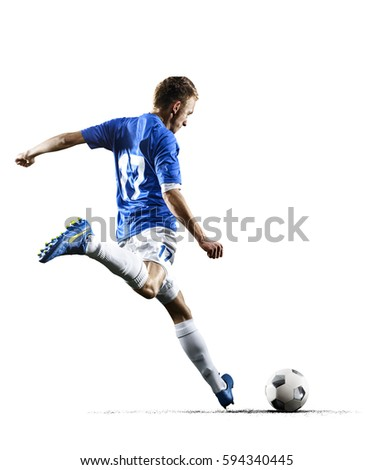 Professional football soccer player in action isolated white background Royalty-Free Stock Photo #594340445