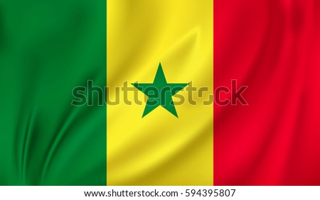 Flag of Senegal waving in the wind on silk background #594395807