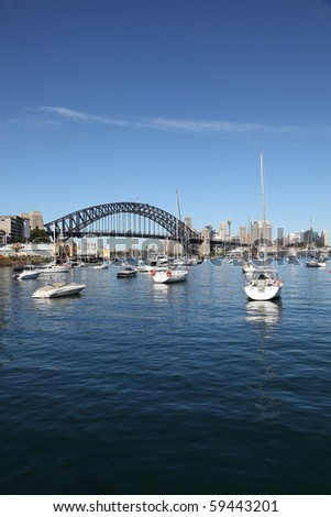 View of the Sydney Harbour Bridge across Lavender Bay. Sydney New South Wales, Australia. Royalty-Free Stock Photo #59443201