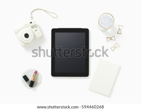 Overhead shot of miscellaneous objects on desk #594460268