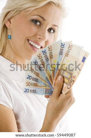 smiling girl keeping a fan of euro cash . FOCUS ON THE MONEY . FACE NOT IN FOCUS #59449087