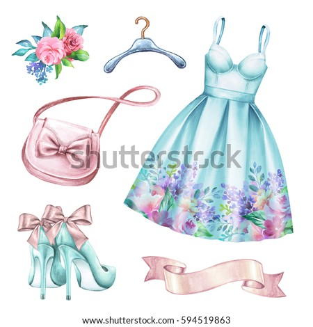 watercolor wedding fashion illustration, festive accessories, bridal elements, woman summer look, clothes clip art isolated on white background