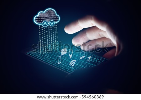 Cloud computing concept, Woman using smartphone and protection with virsual screen. #594560369