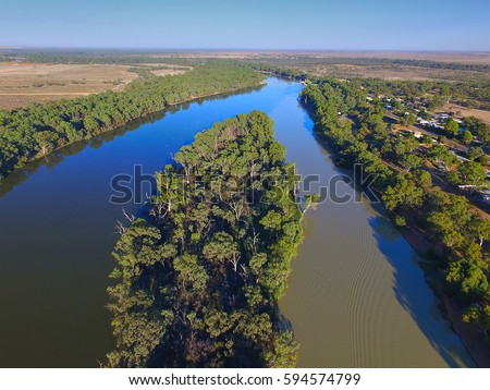 Aerial view of Murray Darling Junction with flood waters flowing in near Lock 10. Location Wentworth  Royalty-Free Stock Photo #594574799