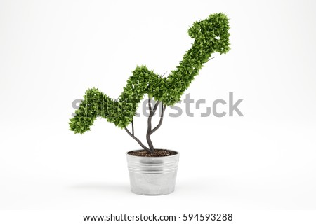 Growing the economy company . 3D Rendering #594593288