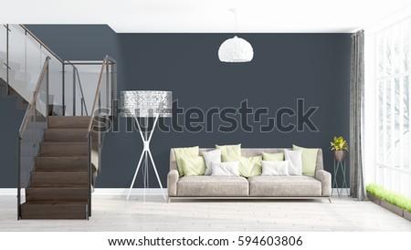 Modern bright interior . 3D rendering #594603806