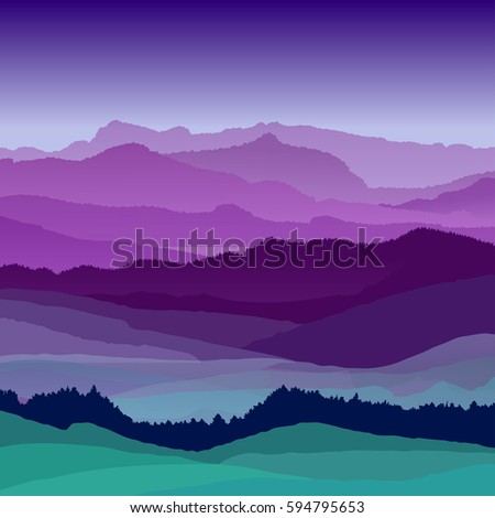 Flat night landscape illustration. Beautiful hills, vector design #594795653