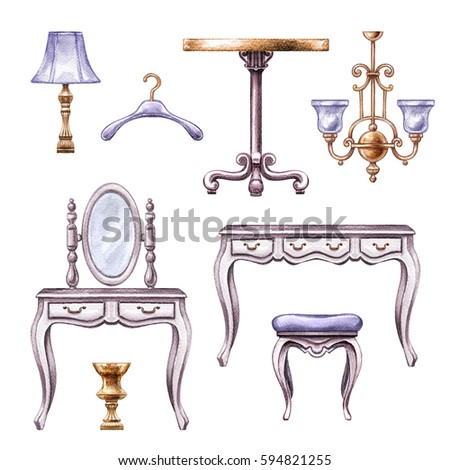 watercolor illustration, vintage boudoir room furniture, accessories, interior design elements, clip art isolated on white background