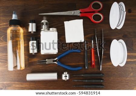 Set to vape. Tools, candy, liquid, RDA, RTA. #594831914