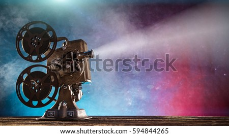 Old style movie projector, still-life, close-up. #594844265