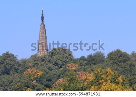 West lake and Baochu Pagoda cityscape in Hangzhou China #594871931
