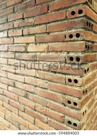 Background texture pattern of brick block #594884003