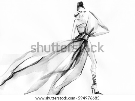 Woman in elegant dress. Runway. Abstract design art. Fashion illustration. Watercolor painting