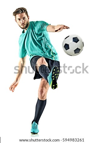 one caucasian soccer player man isolated on white background Royalty-Free Stock Photo #594983261
