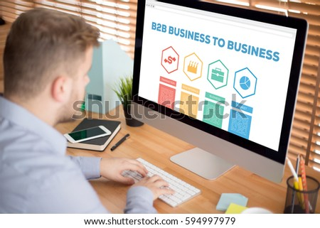 B2B Business To Business Transaction Raw Metarials Business Market Word With Icons #594997979