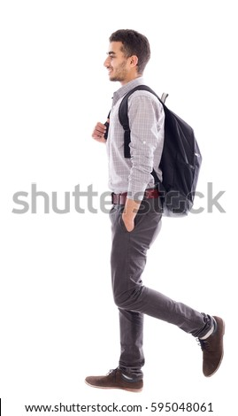 Young man wearing bag, isolated on white #595048061