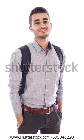 Young man wearing bag, isolated on white #595048220