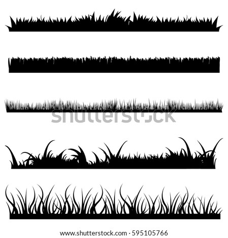 Vector Set of Black Grass Silhouettes on White Backround Royalty-Free Stock Photo #595105766