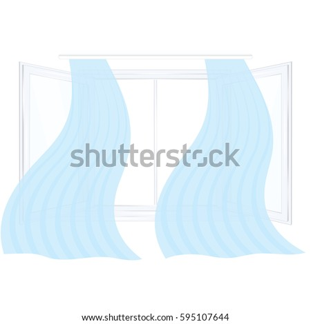 Open window glass blue transparent curtain isolated on white background art creative vector element for design #595107644