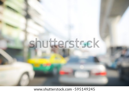Picture blurred  for background abstract of Driving slow in a traffic jam #595149245