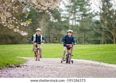 Sweet little preschool children, riding a bike in a cherry blossom garden, springtime #595186373