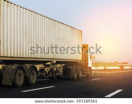 Container truck on road #595189361