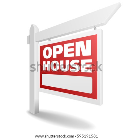 detailed illustration of a blank white open house real estate sign, eps10 vector