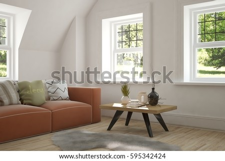 White room with sofa and green landscape in window. Scandinavian interior design. 3D illustration #595342424