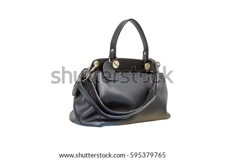 Handbag leather black isolated on white background shot in studio. with clipping path  #595379765