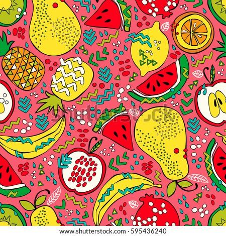 Bright summer fruits: watermelon, kiwi, apple, pear, orange, lemon, pomegranate, pineapple, banana. Seamless vector pattern (background). Fruit print. #595436240