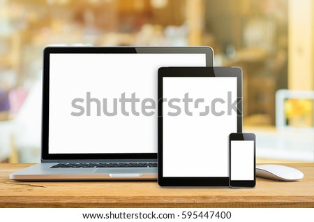 Laptop smartphone and tablet mockup with blank screen on table, Concept mockup. #595447400
