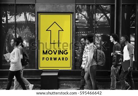 Moving Forward Aspirations Goals Target Ahead #595466642