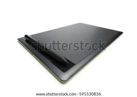 Graphic tablet with pen for illustrators and designers, isolated on white background #595530836
