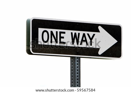 One way directional road sign
