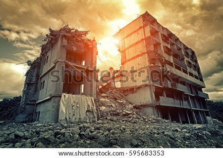 Post-apocalyptic destroyed building in city Royalty-Free Stock Photo #595683353