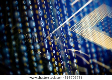 Digital binary data and computer processor. Cyber security concept background. #595703756