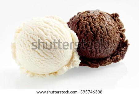 Scoop balls of vanilla and chocolate ice cream close-up isolated on white background #595746308
