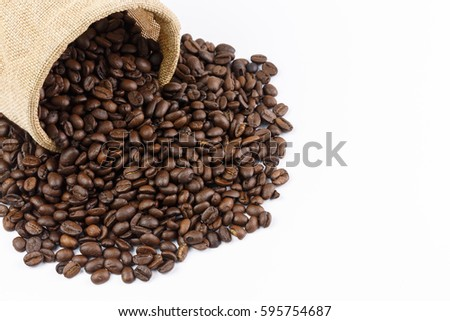 roasted coffee beans and coffee beans isolate on white background #595754687