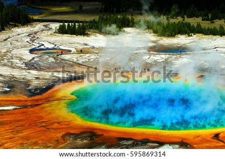 Grand Prismatic Pool at Yellowstone National Park Colors Royalty-Free Stock Photo #595869314