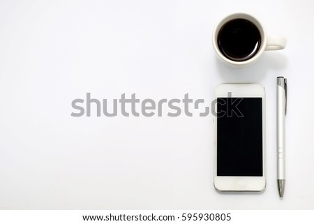 Top view of smartphone, pen and cup of coffee on white background #595930805