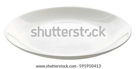 empty plate isolated on white Royalty-Free Stock Photo #595950413