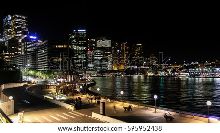 Sydney Central Business District and Circular Quay night view, Sydney, Australia Royalty-Free Stock Photo #595952438