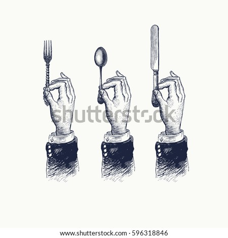 Hands with cutleries. Spoon, fork and knife. Vintage stylized drawing. Vector illustration in a retro woodcut style Royalty-Free Stock Photo #596318846